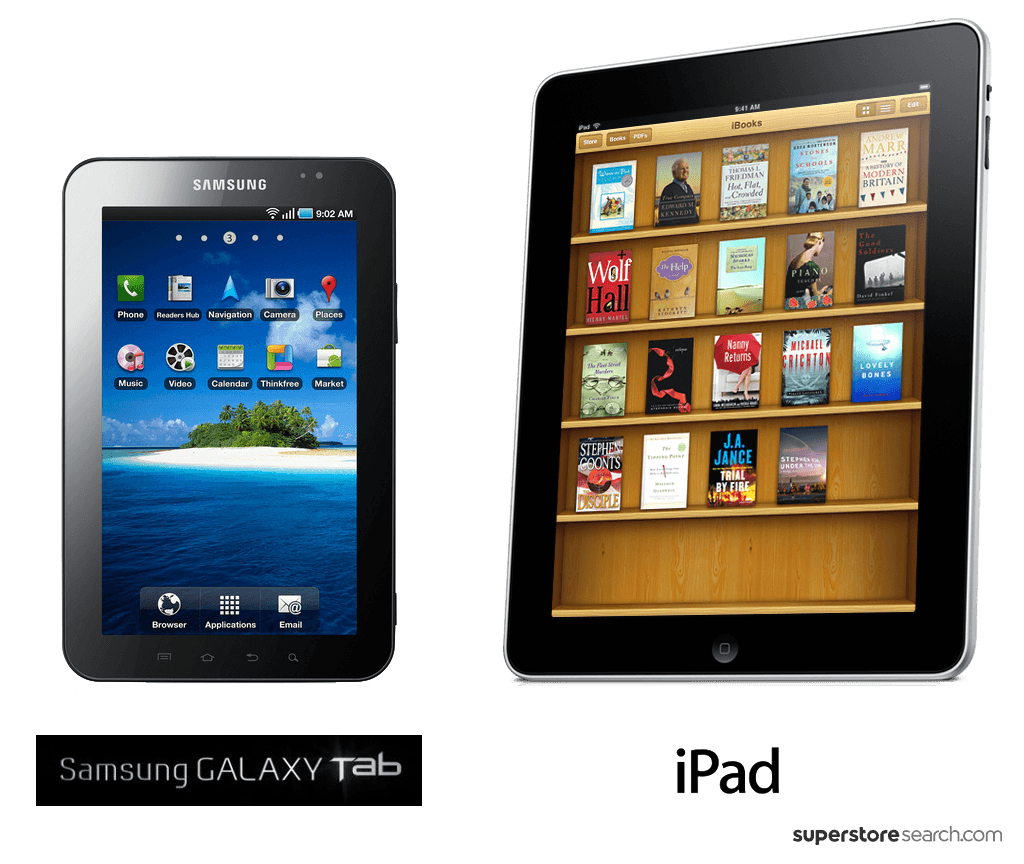 ipad vs galaxy tablet Find your next tablet with this interactive comparison of the most popular android, ios and windows-tablets updated daily.